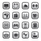 Hotel and Motel facilities icons — Stock Vector
