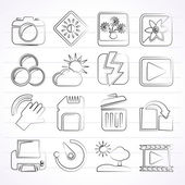 Photography and Camera Function Icons — Stock Vector