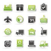 Iconos de logísticos y transporte — Vector de stock