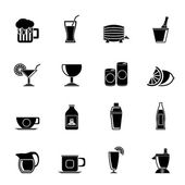 Silhouette beverages and drink icons — Stock Vector