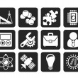 Silhouette Science and Research Icons — Stock Vector