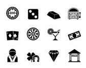 Silhouette casino and gambling icons — Stock Vector