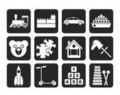Silhouette Different Kinds of Toys Icons — Stock Vector