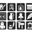 Silhouette Fine art objects icons — Stock Vector #48434877