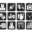 Silhouette Medicine and healthcare icons — Stock Vector #48434931