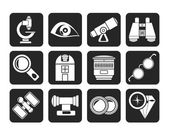 Silhouette Optic and lens equipment icons — Stock Vector
