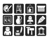 Silhouette Fine art objects icons — Stock Vector