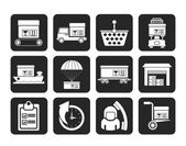 Silhouette Logistic, cargo and shipping icons — Vecteur