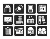Silhouette Business and finance icons — Stock Vector