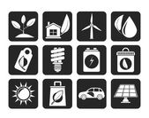 Silhouette Green and Environment Icons — Vecteur