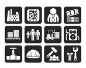 Silhouette Business, factory and mill icons — Stock Vector