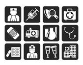 Silhouette Medicine and healthcare icons — Stock Vector