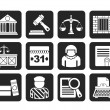 Silhouette Justice and Judicial System icons — Stock Vector