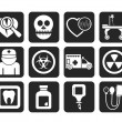 Silhouette Medicine and hospital equipment icons — Stock Vector