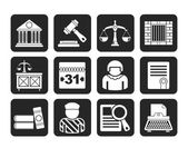 Silhouette Justice and Judicial System icons — Vetorial Stock