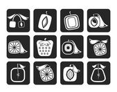 Silhouette Abstract square fruit icons — Stok Vektör