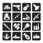 Silhouette Army, weapon and arms Icons — Stock Vector