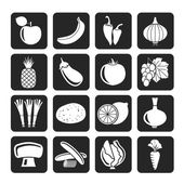 Silhouette Different kind of fruit and vegetables icons — 图库矢量图片