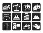 Silhouette Holiday travel and transportation icons — Stock Vector