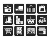 Silhouette Storage, transportation, cargo and shipping icons — Stock Vector