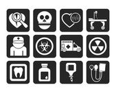 Silhouette Medicine and hospital equipment icons — Vetorial Stock