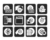 Silhouette Computer Media and disk Icons — Stockvector