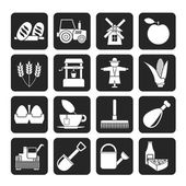 Silhouette Agriculture and farming icons — Stock vektor