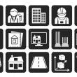 Silhouette architecture and construction icons — Stock Vector #48858509