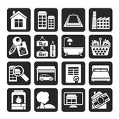 Silhouette Real Estate objects and Icons — Stok Vektör