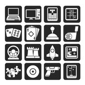 Silhouette Computer Games tools and Icons — Vettoriale Stock