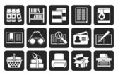 Silhouette Library and books Icons — Vettoriale Stock