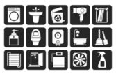 Silhouette Bathroom and toilet objects and icons — Stock Vector