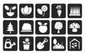 Silhouette Different Plants and gardening Icons — Stok Vektör