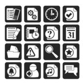 Silhouette Organizer, communication and connection icons — Vector de stock