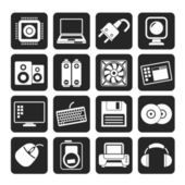 Silhouette Computer Items and Accessories icons — Stock Vector