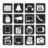 Silhouette Communication and media icons — Vector de stock