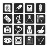 Silhouette Healthcare and Medicine icons — Stok Vektör
