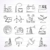 Electricity and Energy source icons — Vettoriale Stock