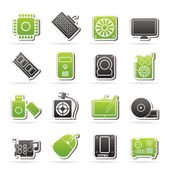 Computer part icons — Stock Vector