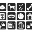 Silhouette dog accessory and symbols icons — Stock Vector #49917281