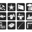 Постер, плакат: Silhouette Communism socialism and revolution icons
