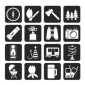 Silhouette Camping, travel and Tourism icons — Stok Vektör