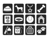 Silhouette dog accessory and symbols icons — Stock Vector
