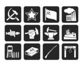 Silhouette Communism, socialism and revolution icons — Stock Vector