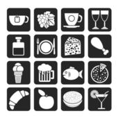 Silhouette Food, Drink and beverage icons — Stock Vector