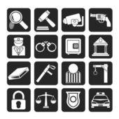 Ley silueta, policía e iconos del crimen — Vector de stock