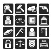 Silhouette Law, Police and Crime icons — Stock Vector