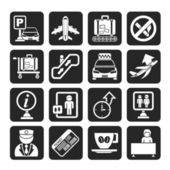 Silhouette Airport and transportation icons — Stock Vector