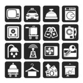 Silhouette Hotel and motel room facilities icons — Stock Vector