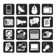 Silhouette Communication and Technology icons — Stock Vector #50123835